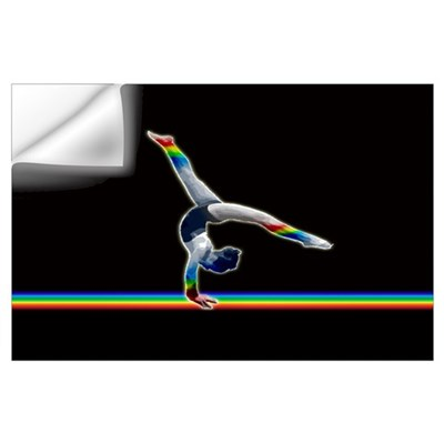 Gymnast on a Rainbow Beam Wall Decal